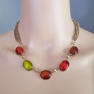 Vintage Look Amber GREEN GOLD Chain Necklace